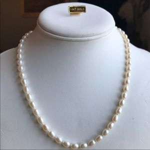 14K White Gold Natural Pearl Necklace